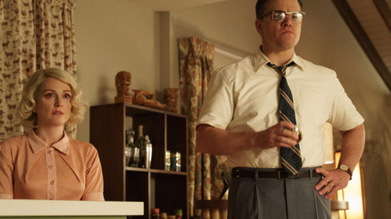 Left to right: Julianne Moore as Margaret and Matt Damon as Gardner in SUBURBICON, from Paramount Pictures and Black Bear Pictures.